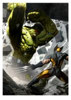 hulk vs wolverine by ryanbrown-colour