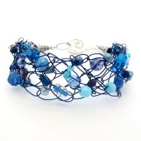 Navy Blue Crochet Wire Beaded Bracelet by MoonlightCraft