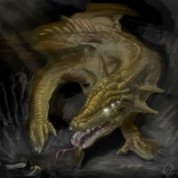 Dragon in cave by Ucaliptic