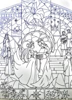 Aragorn and Arwen vitraux lineart by annoulaki