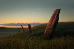 Menhirs on a barrow. by box426