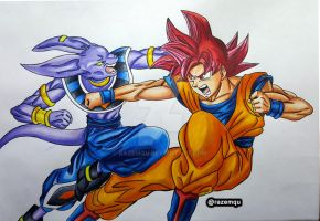 Beerus vs Super Saiyan God Goku |Dragonball Super| by razemqu