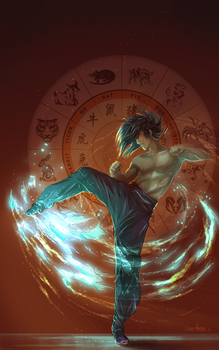 Because blue glow fire is cool, okay!? by Roiuky