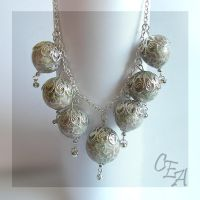 "Necklace ""Silver hand bells"" by Kakomicly"