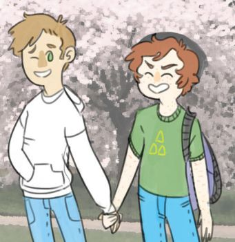 highschool au by Floral-print-boots