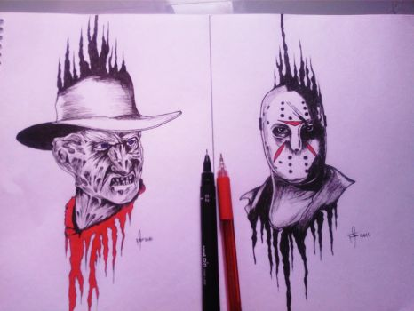 Jason vs Freddy sketch by mrferdz