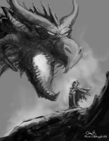Daily Painting #36 - Dragon vs Wizard by maugryph
