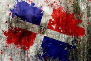 Dominican Flag Splatter by noizkrew