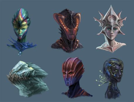 Alien Head Concepts 2 by Phill-Art