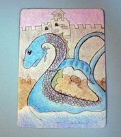 Sea Monster at Sunset ATC by VapidRose