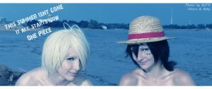 Sanji and Luffy on the beach by Nyandalee