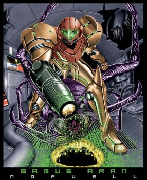 Samus Aran of Metroid COLORED by DaleNorvell