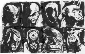MARVEL HEAD SKETCHES by deemonproductions