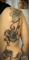 Flower back tattoo 2. session by 2Face-Tattoo