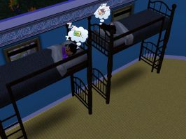 Sims 3 - Violet and I slept on upper bunk beds by Magic-Kristina-KW