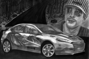 Dodge This Dart - Travis Pastrana Pencil Sketch by diablocyrus