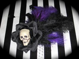 Skull Rose Royal Purple by RufflesnStripes