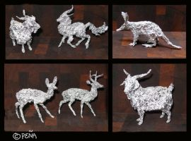 Aluminum foil animals by Reptangle
