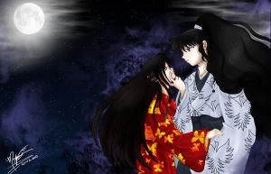 Redpaw and Naraku in Moonlight by SassyLilPanda