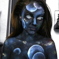 Space/Galaxy body paint by lgoresfx