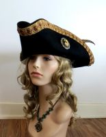 Black Wool Pirate Hat with Cameo by salvagedsword