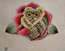 owl rose by burningXleaves