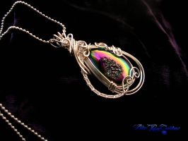 Rainbow Drusy Wire Wrap Moon Goddess Tear Pendant by LadyPirotessa