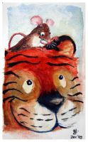 tiger and mouse by bonzaialsatian
