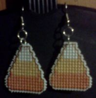 Candy Corn Stitched Earrings by Sew-Madd