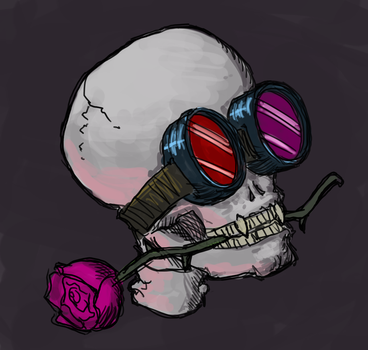 Skull with goggles and rose by astamite