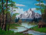 Cabin in the woods (Tribute to Bob Ross) by CelKi