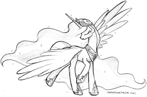 Dancing Celestia Sketch by endlessnostalgia