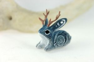 Snow Jackalope by hontor