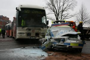 police car + bus is a crash by Morneion