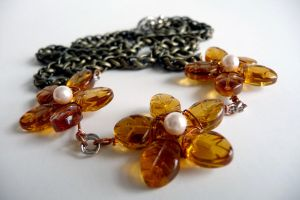 Orange Autumn Flower Necklace by ShaylynnAnn
