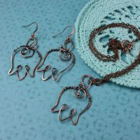 Copper earring and pendant 'Tulip' by WhiteSquaw