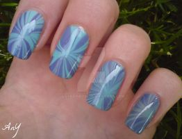 Spring Water Marble Nail Design by AnyRainbow