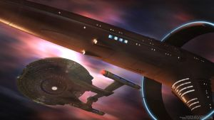 Vulcan Sh'ran and Enterprise NX01 At Warp Speed by Zodi