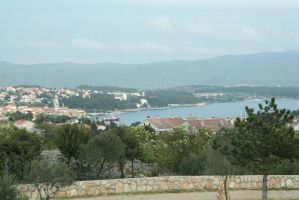 view from campsite to town Krk by ingeline-art
