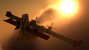 Canadair C415 in the clouds by Linolafett