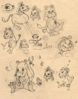 little cute Mushuhushu sketches by hyakamaru