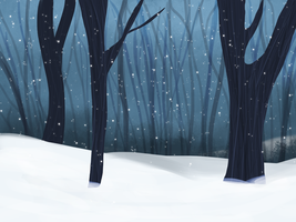 snowy forest bg by Mustang-Heart