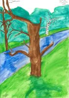 Tree and River by SailorVTC375