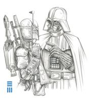 Darth Vader / Boba Fett Preliminary Sketch by Erik-Maell