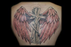 Angel With Cross Backpiece by Omedon