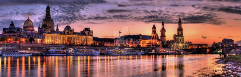 old city sunset Panorama by stg123