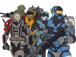 Halo Reach: Noble Team (Flat Colours) by leonalmasy