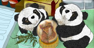 Pandas With Lucky Lion Crystal Ball by merearthling