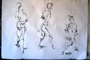 Figure Drawing with Ink 1 by Explonova