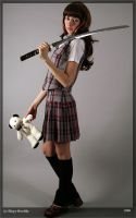 Schoolgirl with bear and sword by Ryuspb